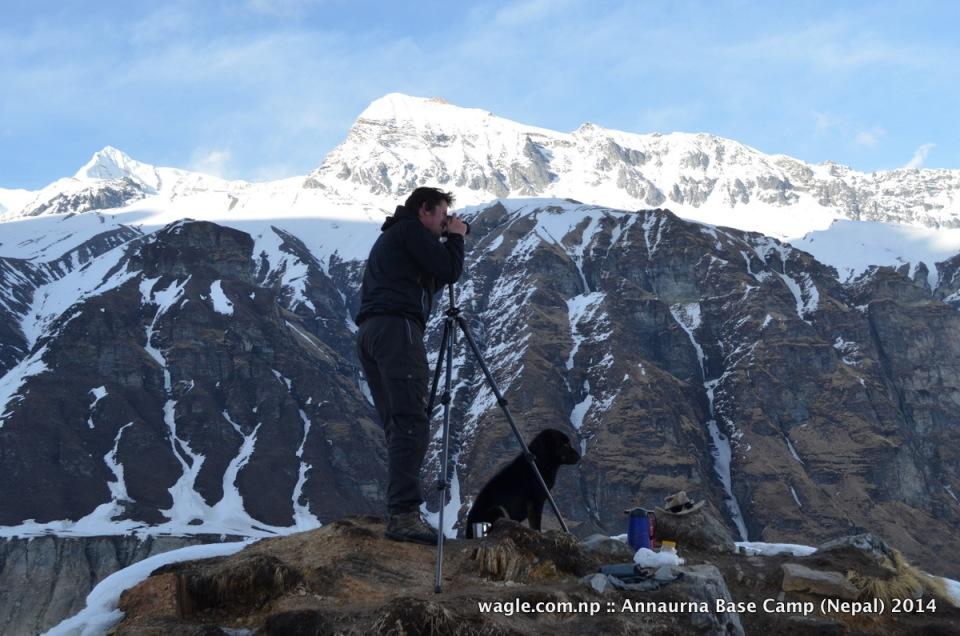 A dog accompanied a photographer at the Annapurna Base Camp viewpoint