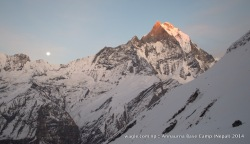 Moon rose from the east as the last rays of the sun hit the summit of Mt Machhapuchhre