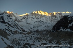 First Rays Of the New Rising Sun on the Mighty Annapurna: Sun caste its first rays of the day over the summit of 8091 m Annapurna I.