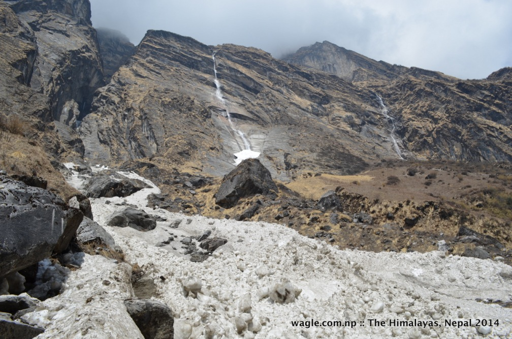 During heavy snowstorm some of such waterfalls would turn into avalanches like one on the left