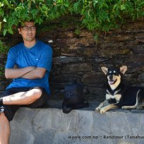 dinesh wagle with dog in bandipur