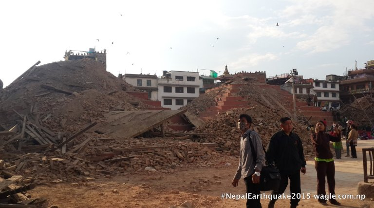 What remains of the two prominent temples of Basantapur Darbar Square.