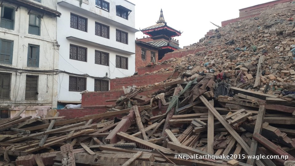 A day after the #NepalEarthquake, the rubble and woodcarvings from the fallen Maju Deval Temple in Kathmandu Darbar Square.
