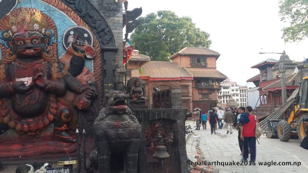A day after the #NepalEarthquake, there were two dogs sleeping in front of the otherwise busy statue of Kal Bhairav in Kathmandu Darbar Square.