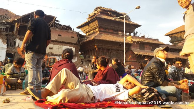 A day after the #NepalEarthquake, Basantapur was crowded by people who wanted to escape the aftershocks.