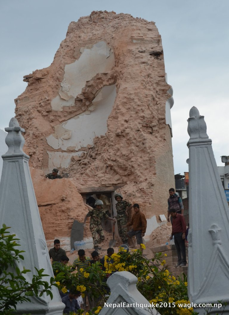 Soldiers and volunteers launched rescue efforts at the fallen Dharahara tower