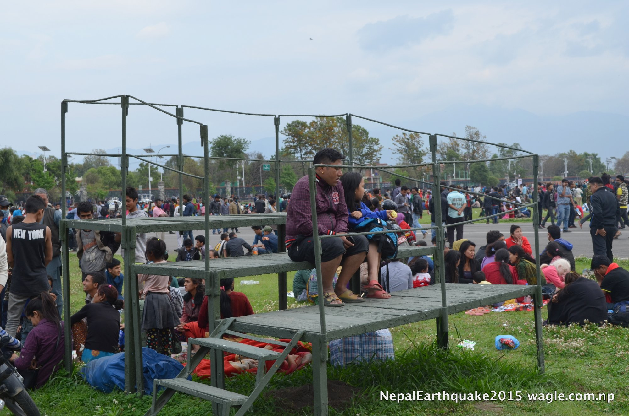 Within hours, most of open spaces in Kathmandu had been occupied. Even the VIP area at the Tundikhel military parade ground which is normally restricted for the public was opened. I had never stepped into that part of the parade ground before.