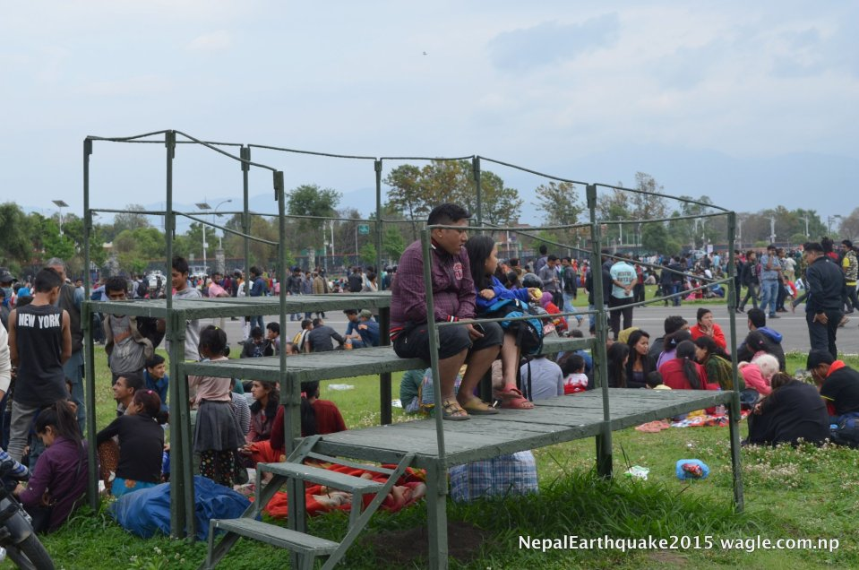 Within hours, most open spaces in Kathmandu had been occupied. Even the VIP area at the Tundikhel military parade ground which is normally restricted for the public was opened. I had never gone into that part of the parade ground.