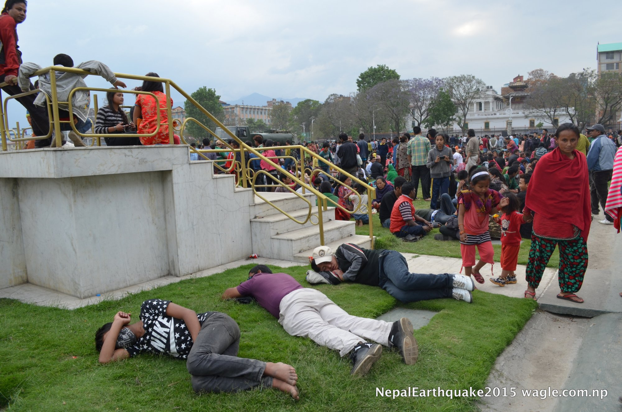 The restricted area of Tundikhel's Military Area provided safe heaven to people terrified by the earthquake.