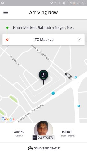 Uber order screen: Khan Market to Maurya
