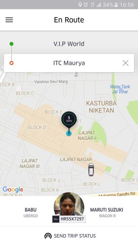 Uber order screen: Lajpat to Maurya