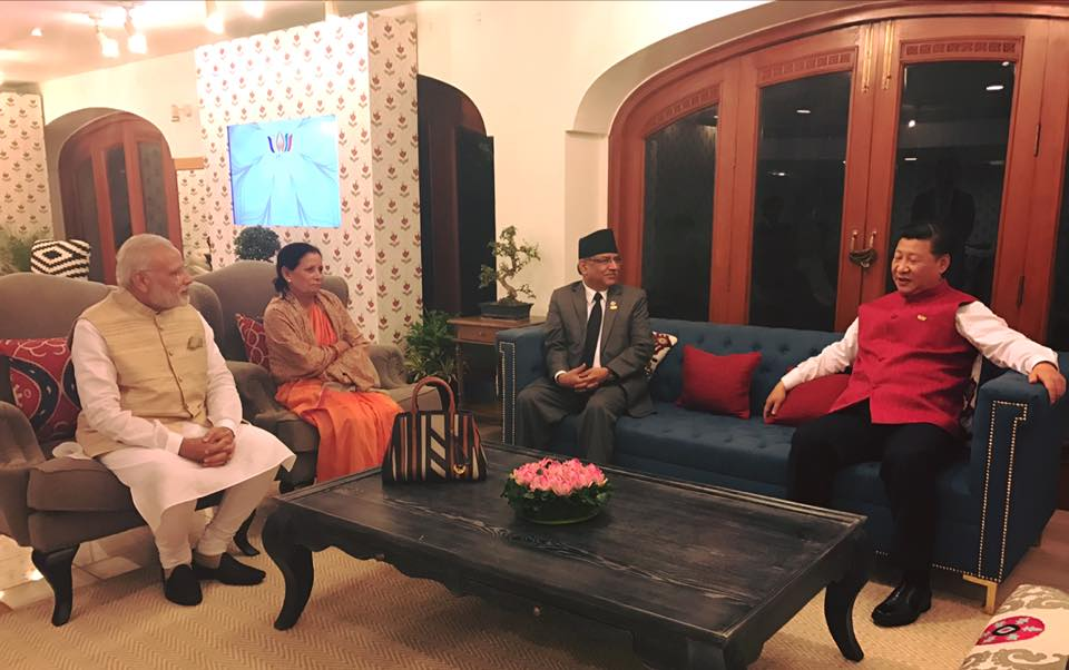 From left: Narendra Modi, Sita Dahal, Pushpa Kamal Dahal and Xi Jinping yesterday in Goa. Pic by Prakash Dahal