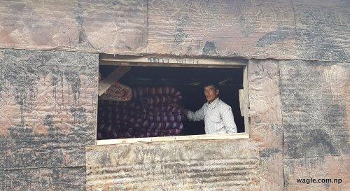 A bedding seller in Tistung Deurali village.